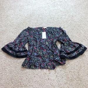 Solitaire floral bell sleeve off shoulder blouse